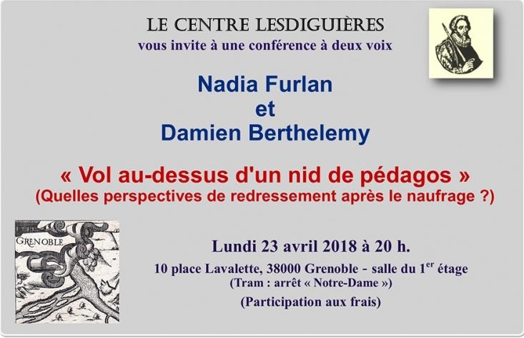 """Le centre Lesdiguieres vous invite à une conférence sur les """"pédagos"""" le 230418"""