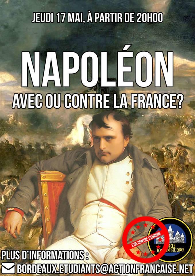 L'AF Bordeaux vous invite à son cercle sur Napoleon, avec ou contre la France le 170518