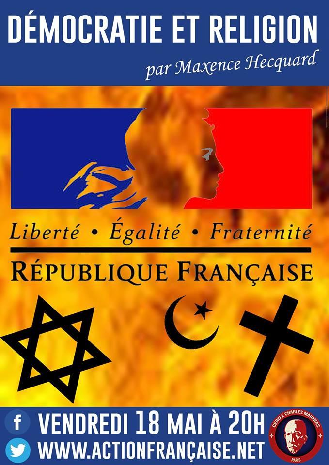 L'AF Ile de France vous invite à son cercle dur la démocration et la religion le 180518