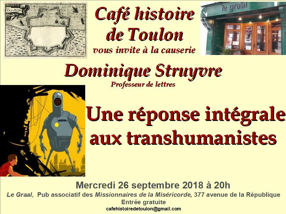 Le Café histoire de Toulon vous invite à une conférence sur le transhumanisme le 260918
