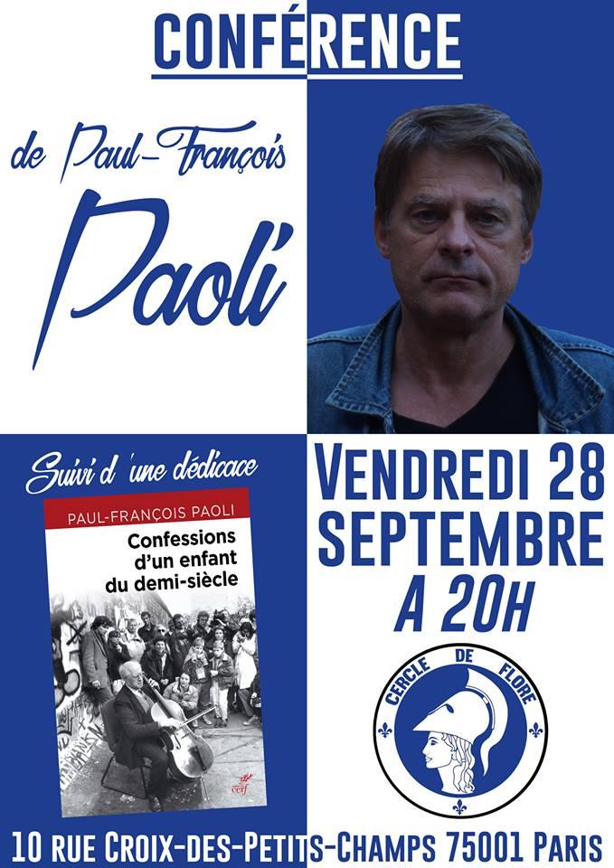 Le Cercle de Flore invite Paul-François Paoli pour une conférence sur son dernier livre le 280918