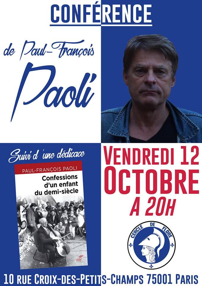 Le Cercle de Flore invite Paul-François Paoli pour une conférence sur son dernier livre le 121018