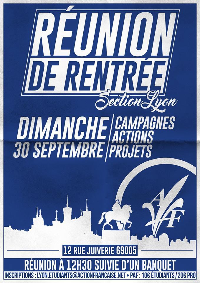 L'AF Lyon vous invite à sa réunion de rentrée le 300918