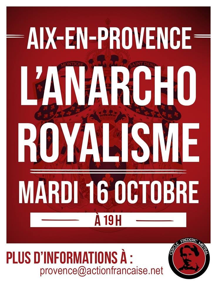 L'AF AIix vous invite à son cercle sur l'anarcho royalisme lre 161018