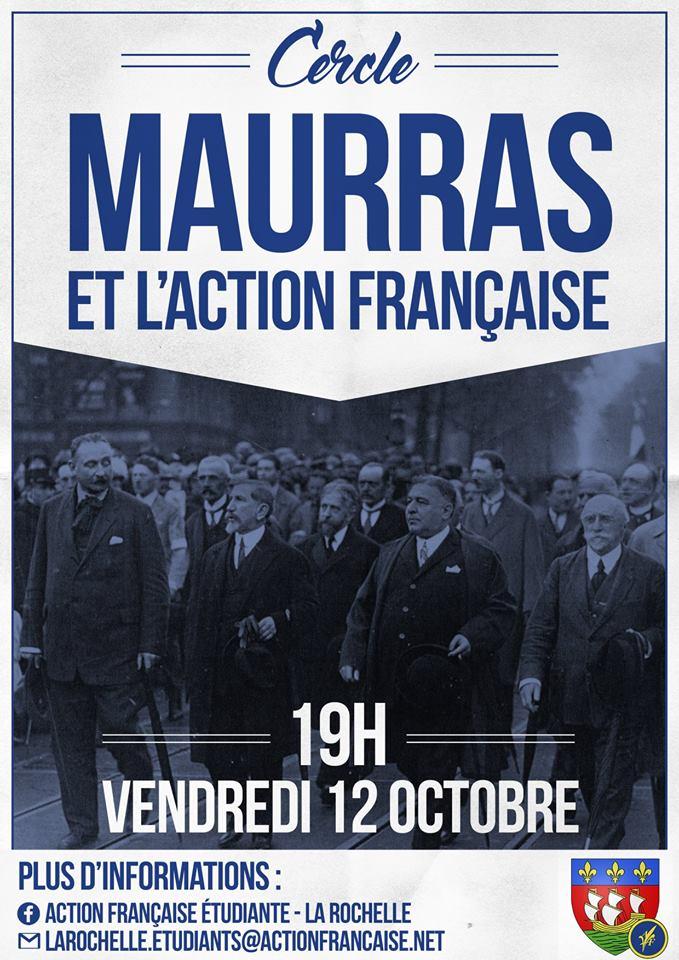 L'AF La Rochelle vous invite à son cercle sur Maurras et l'AF le 181018