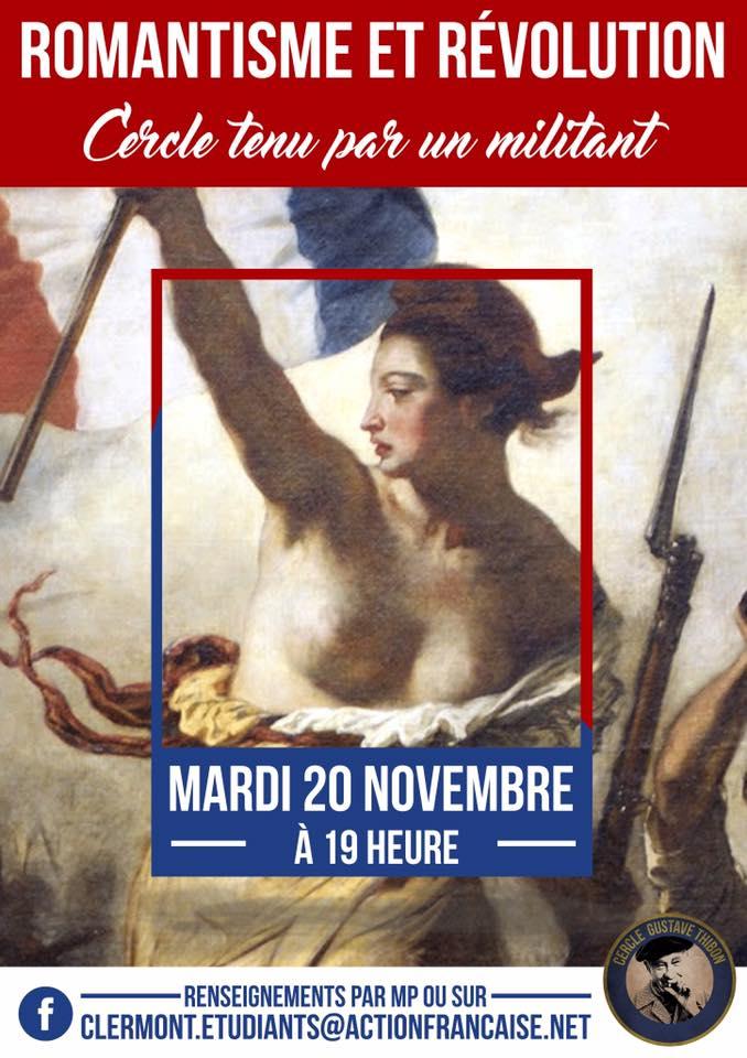 L'AF Clermont vous invite à son cercle sur romantisme et révolution le 201118