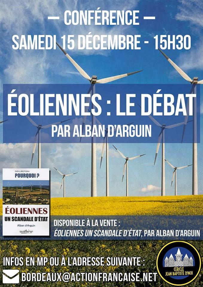 L'AF Bordeaux vous invite à sa conférence sur les éoliennes le 151218