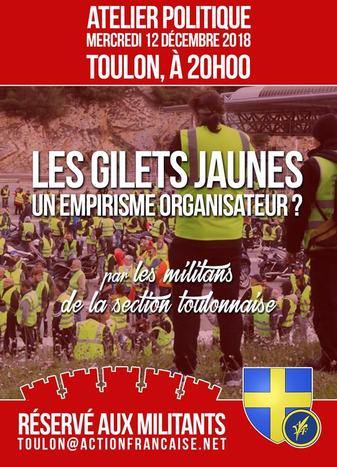 L'AF Toulon vous invite à son atelier sur les gilets jaunes le 121218