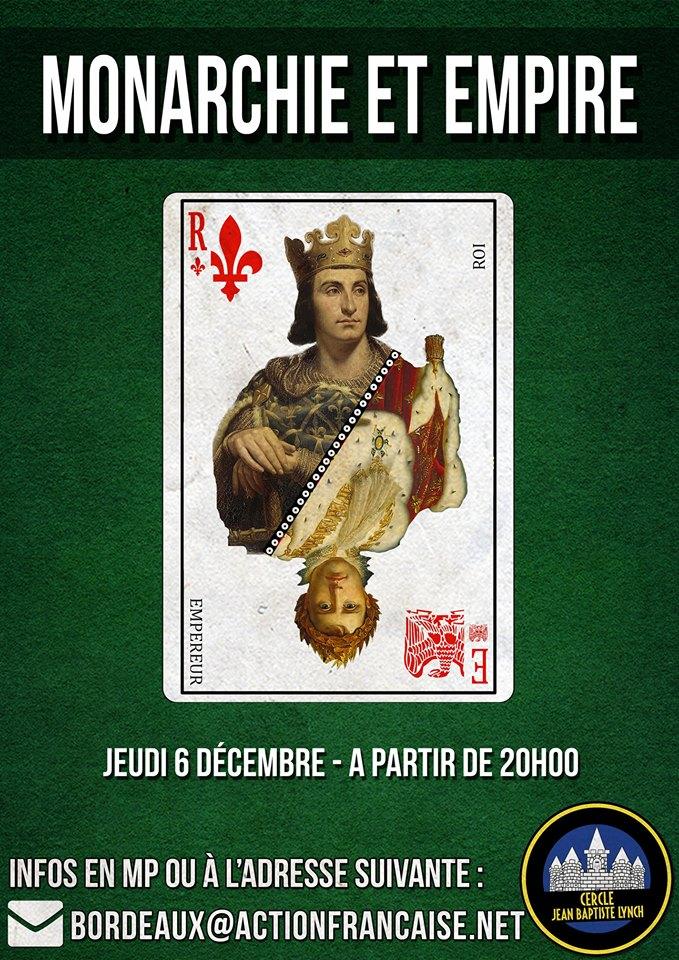 L'AF Bordeaux vous invite à son cercle sur monarchie et empire