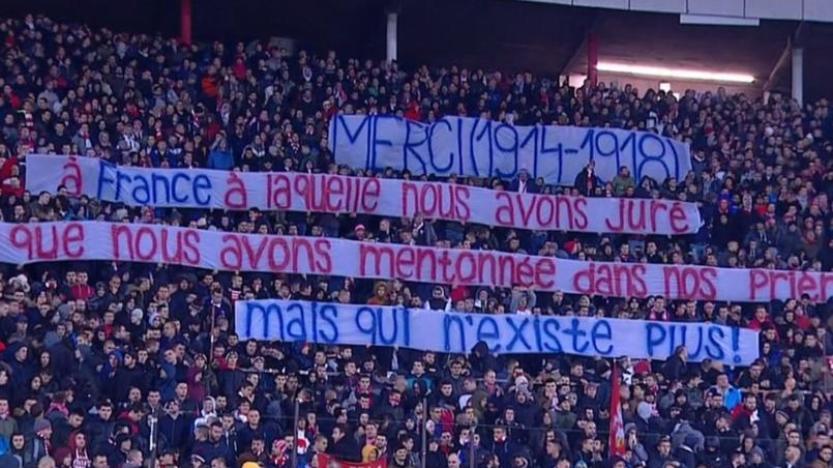 Belgrade-PSG: la banderole serbe qui s'adresse à «la France qui n'existe plus»