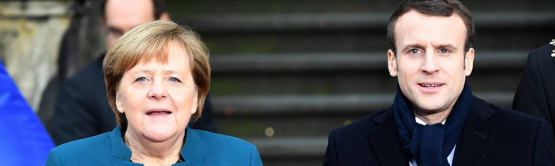 Emmanuel Macron et Angela Merkel, signature du Traité d'amitié franco-allemande, communiqué de presse : La république fédérale franco-allemande (©Federico Gambarini/DPA/MAXPPP)