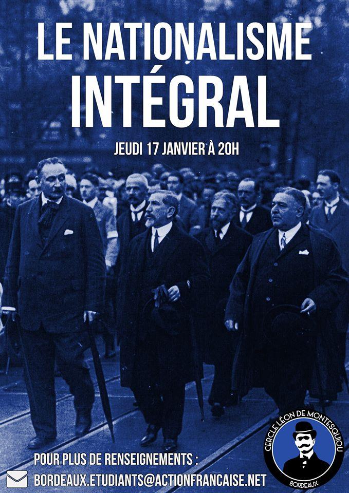 L'AF Bordeaux vous invite à son cercle sur le nationalisme intégral le 170119