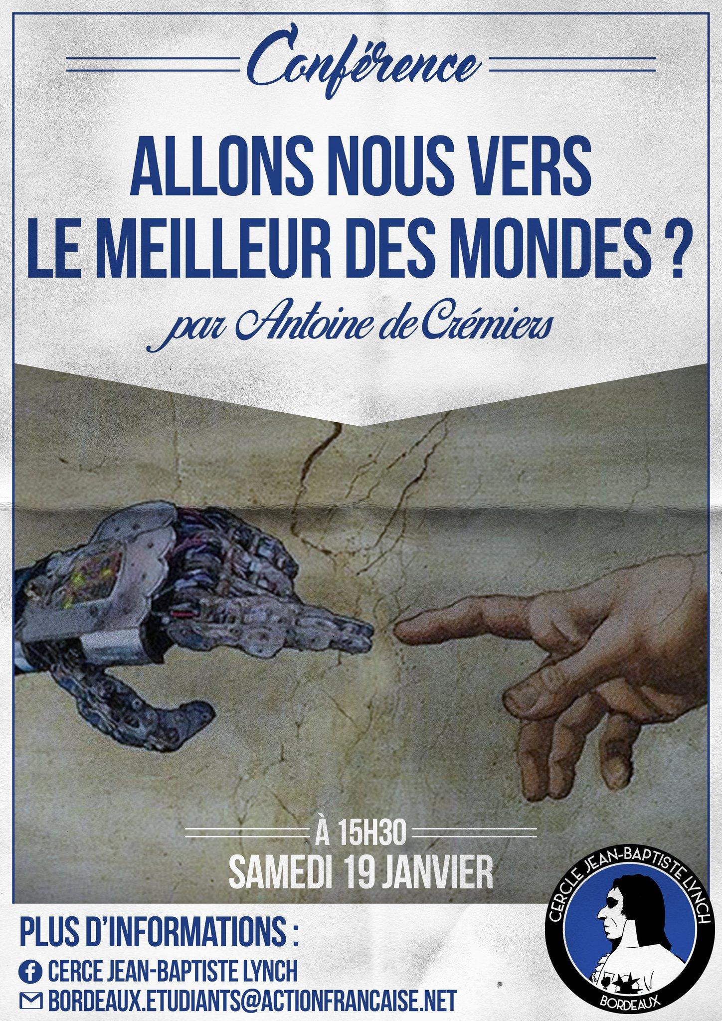 L'AF Bordeaux vpous invite à une conference sur le meilleur des mondes le 190119