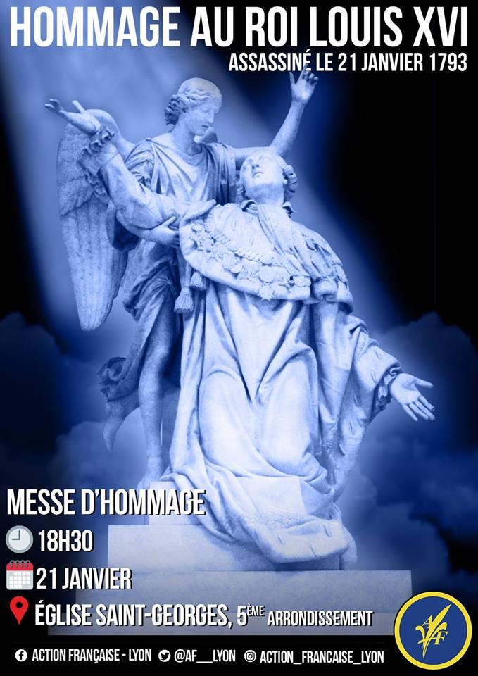 L'AF Lyojn vous invite à la messe d'hommage à Louis XVI le 210119