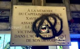 Gilets jaunes àParis: La plaque en hommage àXavier Jugelé taguée durant l'acte 18