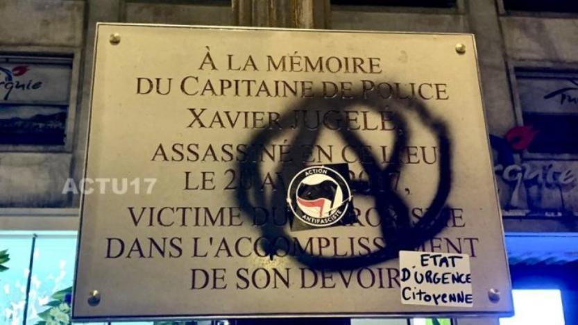 Gilets jaunes à Paris: La plaque en hommage à Xavier Jugelé taguée durant l'acte 18