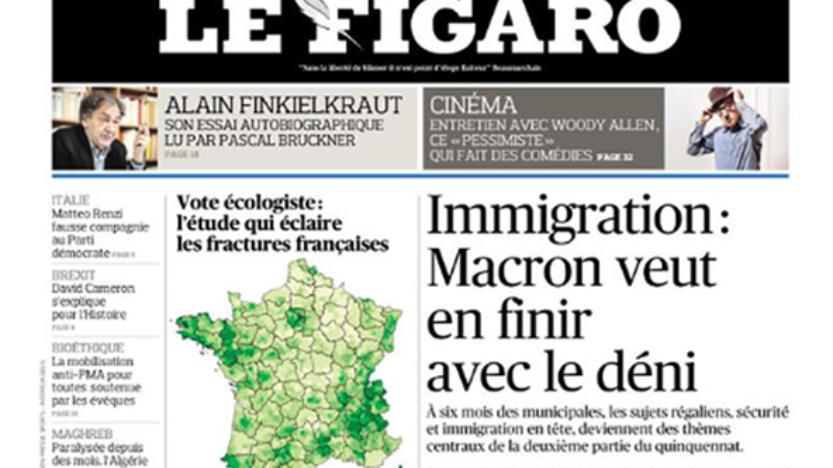 À la «Une» du Figaro de ce matin: Le Chef de l'Etat sérieux sur l'immigration ou Sarkozy bis?