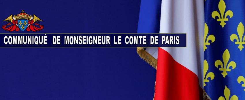 Mgr le Comte de Paris appelle les français àrespecter les mesures de confinement