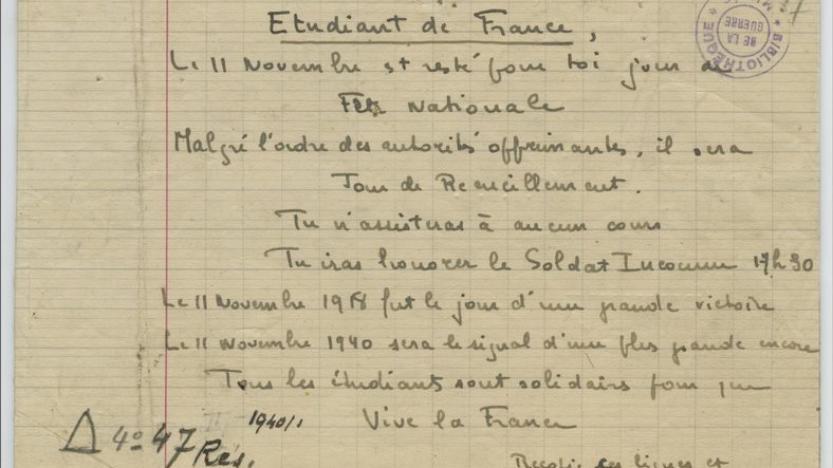 Premier acte de résistance à l'ennemi: Le 11 novembre 1940